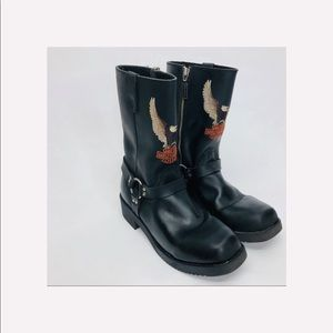 Harley Davidson Size 5 Woman's boots embroidered